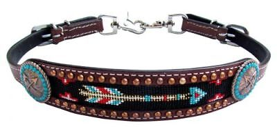 Showman Beaded ARROW Conchos Leather Wither Strap Barrel Racing 2 Trigger Snaps