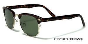 Small Clubmaster Men Glasses Half Frame Retro Vintage 80s Sunglasses Black Brown