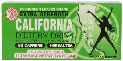 2 Boxes Evergreen Leaves Brand Extra Strength California Dieters Drink 14 Bags