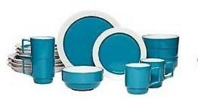 Pfaltzgraff® Hudson 16pc Stoneware Dinnerware Dish Set Turquoise Blue RARE $140 - Turquoise Dish Set