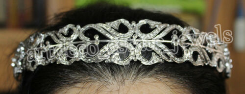 10.03ct ROSE CUT DIAMOND  925 SILVER WEDDING ANNIVERSARY TIARA