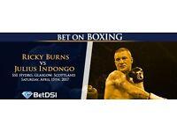 Burns vs indongo fight sat 15 april 17 start 5.30