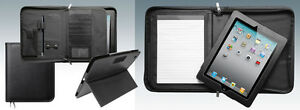 Leather Executive Conference Portfolio Folder with Detachable Leather iPad Case