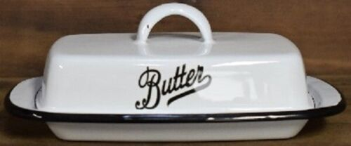 VINTAGE STYLE WHITE ENAMEL PORCELAIN BUTTER DISH HOLDER FARMHOUSE DECOR KITCHEN