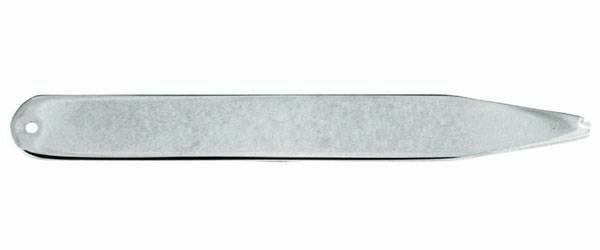 David Van Hagen Mens Rhodium Plated Collar Stiffeners - Silver