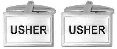 New Rhodium Plated Usher Wedding Cufflinks in Presentation Case - Usher In Wedding