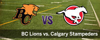Calgary Stampeders vs BC Lions Tickets - Sept. 18, 7:00 pm