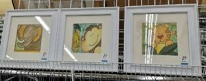 Watercolour Animal Paintings in Frame for Nursery