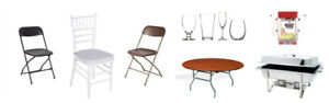 chair, tables, tablecloths, food warmer and tents
