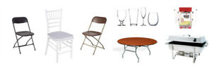 Party chairs, tables, table cloths, chafing dish, tents rentals