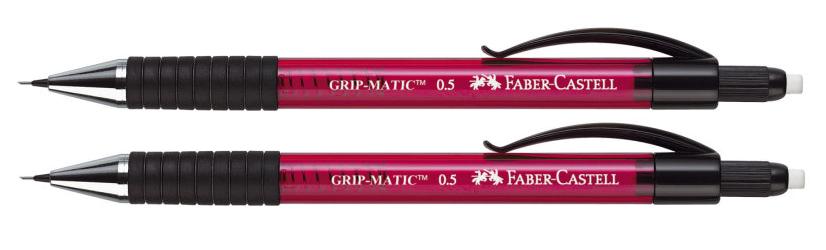 2 x Faber-Castell Druckbleistift Grip Matic 1375, 0,5mm, rot