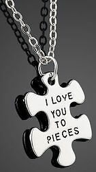 New- I Love You To Pieces- Puzzle Shaped Pendant Necklace