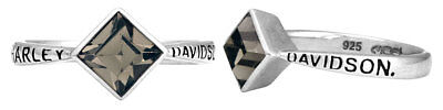 Harley Davidson Black Ring - Harley-Davidson Women's Ring, Black Ice Diamond Shape Crystal Ring HDR0361