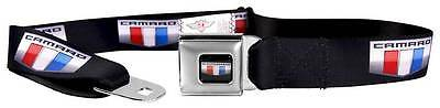 Seatbelt Men Canvas Web Military CAMARO Badge Black Silver Red White Blue