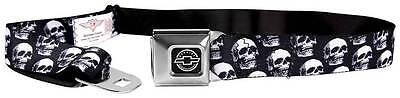 Seatbelt Men Canvas Web Military Chevy Chevrolet 3 D Skulls Black Grays White