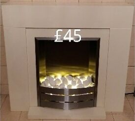 White pebble electric fire heater with 2 heat settings or just lights