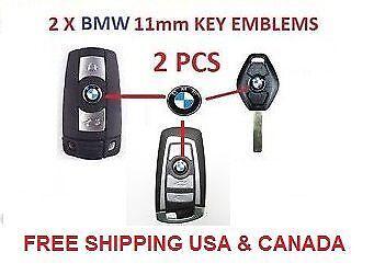 2X BMW 3 5 7 LOGO 11mm KEY REMOTE FOB EMBLEM BADGE STICKER E53 E38 E64 E39 E85