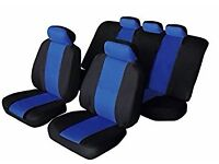 sport car seat covers, steering wheel cover, belt covers and blue mats 20 ono for all