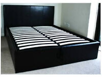 Black 4ft6 Double Storage Ottoman Gas Lift Up Bed Frame + Layezee Traditional Mattress