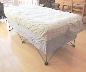 Used Camping Folding Single Bed frame with Air mattress, NO PUMP