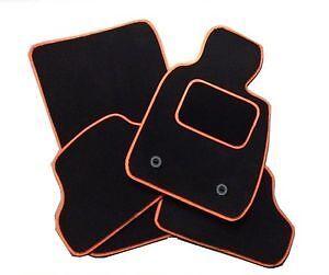 RENAULT CAPTUR 2013 PLUS TAILORED CAR FLOOR MATS- BLACK WITH ORANGE TRIM