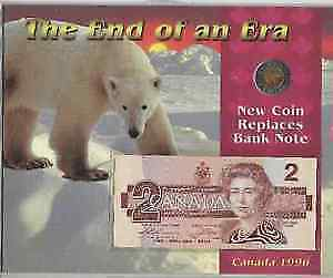 End of an Era. New Coin Replaces Bank Note Canada 1996