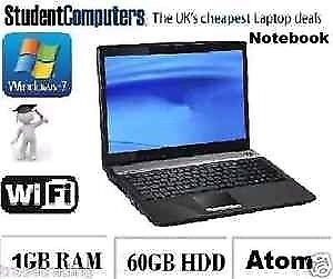 Cheap Office Home Student Notebook Laptop | 2GB 60GB | Windows 7 Professional