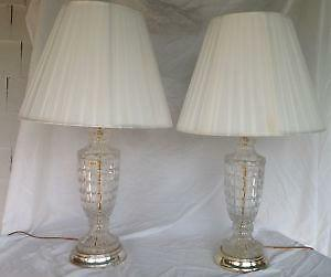 pair crystal table lamps