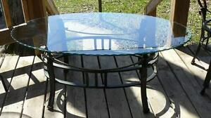 3 Piece Beveled Glass and Bronze Metal Coffee Tables Mint!