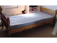 Pine-Framed Single Bed with Sprung Mattress