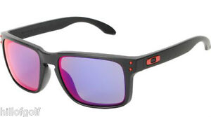 NEW AUTHENTIC OAKLEY HOLBROOK SUNGLASSES BLACK / + RED IRIDIUM...NEVER DISPLAYED