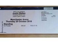 *1 STANDING JUSTIN BIEBER TICKET* £100 ONO / MANCHESTER / 20 OCTOBER 2016