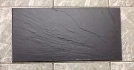 Black slate effect porcelain tiles - covering approx 6.7 sq m