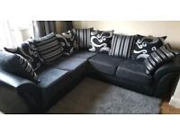 🔴NEW SHANNON SOFA FABRIC & FAUX LEATHER BLACK & GREY AVAILABLE IN STOCK