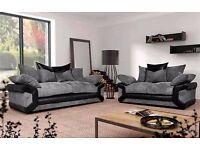 Sheldon fabric couches with free pouffe
