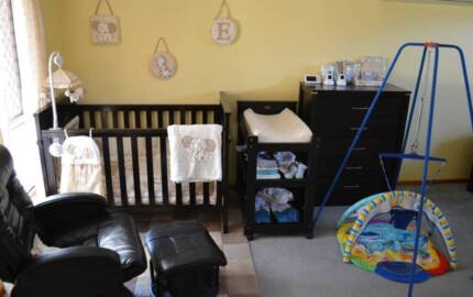 Boori Cot, Change table, Glider chair, Monitor, Drawers, Linens