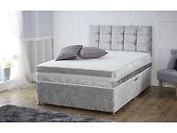 CRUSHED VELVET DIVAN BASE WITH UNDER BED STORAGE + HEADBOARD + MATTRESS
