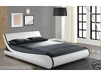 Designer Double Bed Frame or King Size Faux Leather Black White (free delivery)