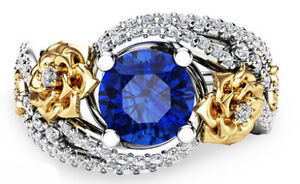 925 Silver Engagement/Promise Ring Blue Floral Size 8