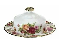 Royal Albert Old Country Roses Round Covered Butter Dish