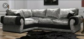 Crushed velvet corner sofa with #FREE #FOOTSTOOL