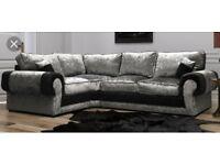 Crushed velvet Scs Ashley corner sofa FREE FOOTSTOOL