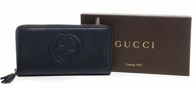 Gucci Dark Blue Leather Soho Zip Around Tassel Wallet with Box & Care Cards