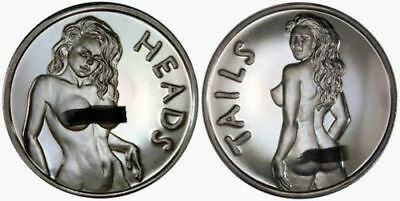 """SEXY...ADULT 1 OZ. """"HEAD AND TAILS"""" .999 FINE SILVER NUDE COIN"""