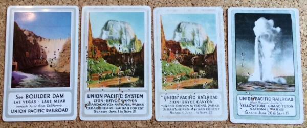 four! UNION PACIFIC pocket calendar 1938 1939 1940 1941 Yellowstone BOULDER DAM