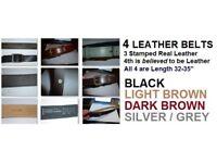 "FOUR Men's Leather Belts (Size 32-25"")"