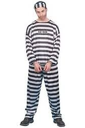 CONVICT / PRISONER FANCY DRESS OUTFIT SIZE M GREAT FOR PARTY OR STAG DO 2 AVAILABLE
