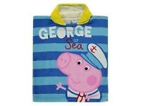 Peppa Pig George at Sea hooded beach/bath towel
