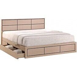 Wooden bed, solid frame, 2 large draws, with mattress, boxed.