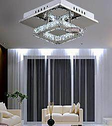 CONTEMPORARY Square LED Crystal Chandelier Light Dianella Stirling Area Preview